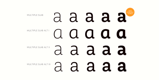 Multiple Slab fonts from Latinotype - Alternates for all weights