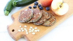 oat zucchini blueberry baby led weaning pancakes recipe - great finger food and first food