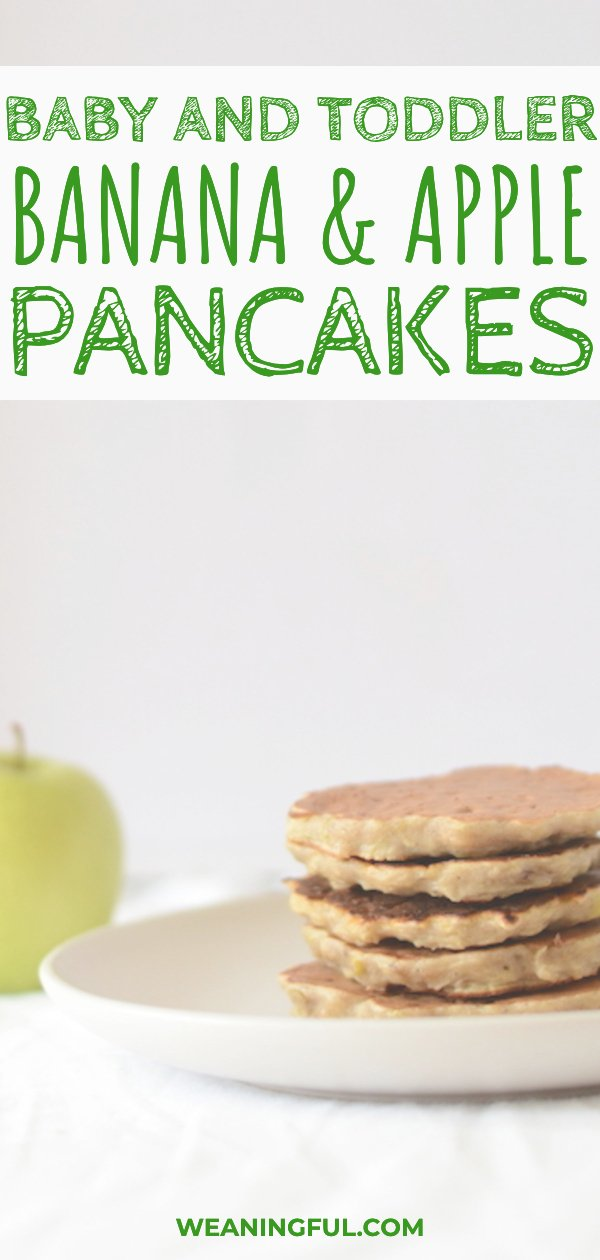 These pancakes for baby and toddlers alike are a great baby led weaning recipe to get started with, especially when first introducing solids. Even the picky eaters will enjoy it! #blw #babyledweaning #pancakes