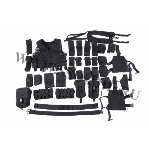 Set of modular equipment with fastening MOLLE system for ...