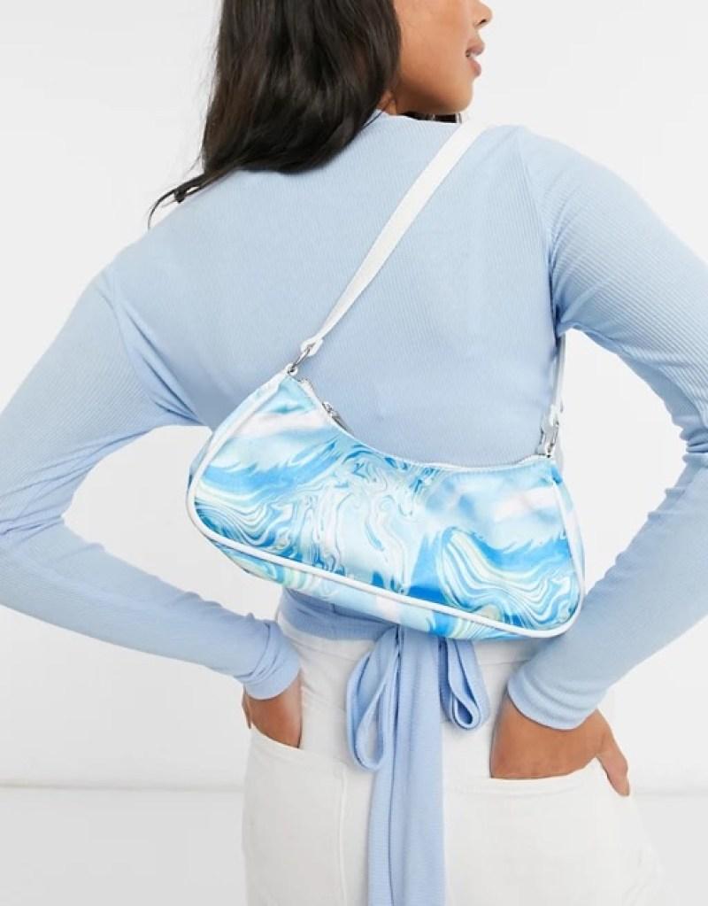 ASOS DESIGN elongated 90s shoulder bag in blue marble print _ ASOS