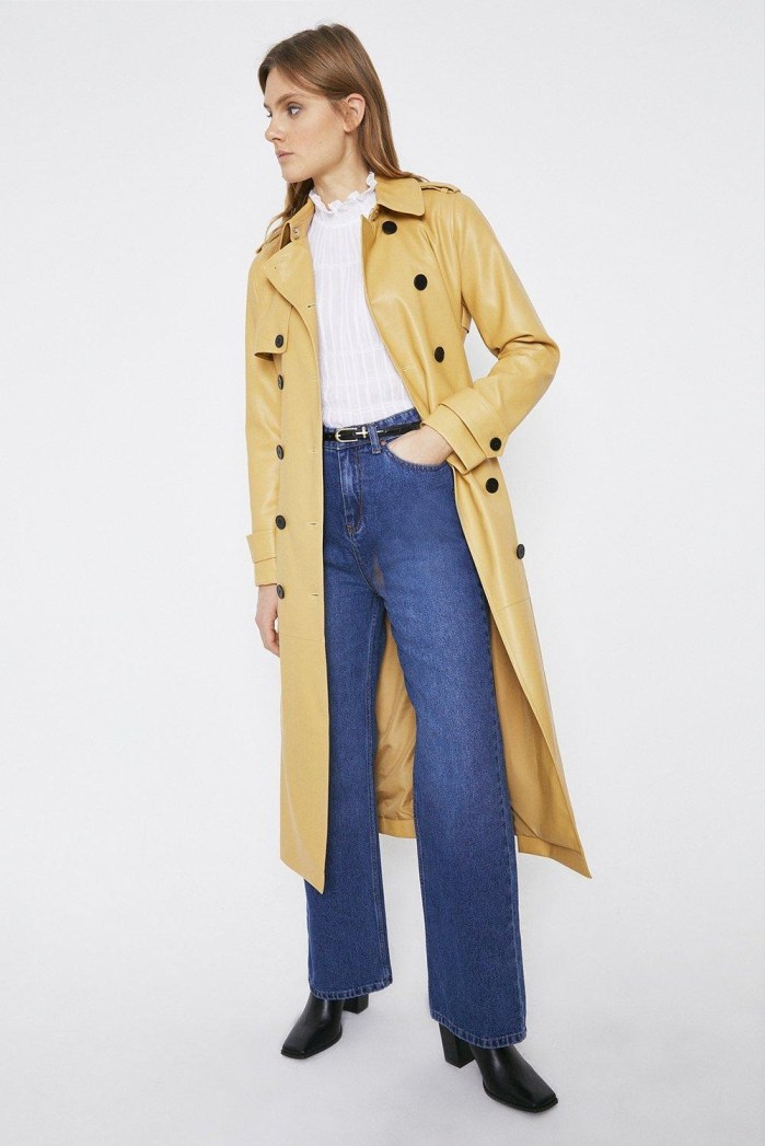 Faux Leather Trench Coat Warehouse
