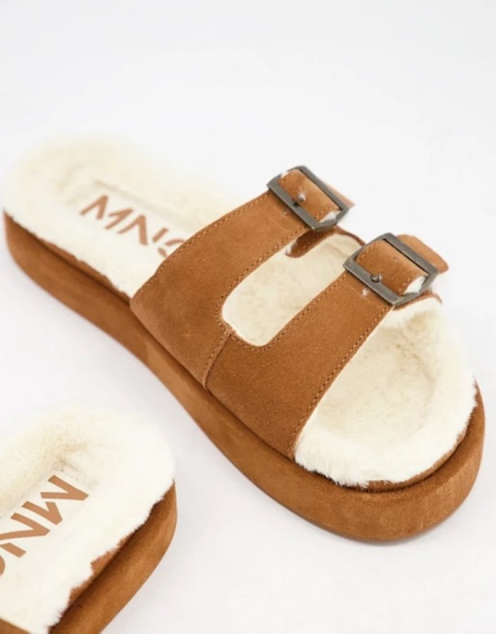 Mango suede slider lounge slippers with faux shearling lining in tan   ASOS