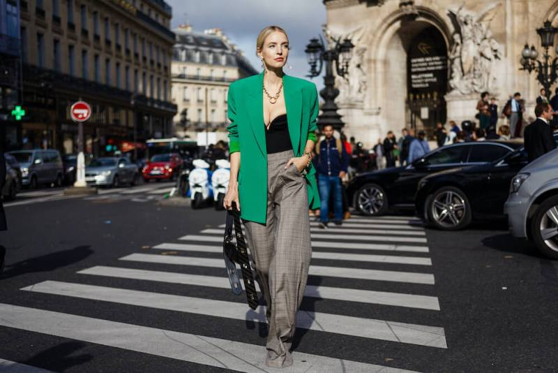 Leonie Hanne seen outside STELLA McCARTNEY show, during Paris Fashion Week Womenswear Spring/Summer 2020.
