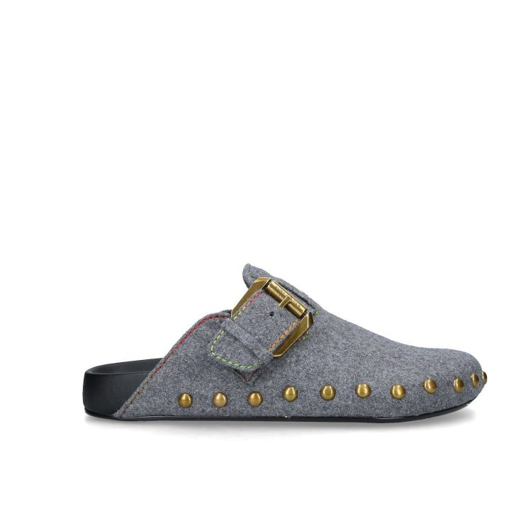 Denim studded clogs from Kurt Geiger London with multicoloured stitching