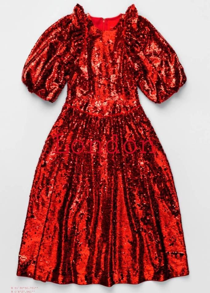 Simone Rocha x H&M London City Edition Red Sequin Dress