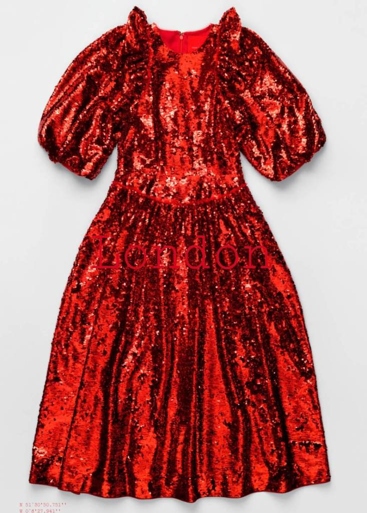 Simone Rocha x H&M red sequin dress City Edition London