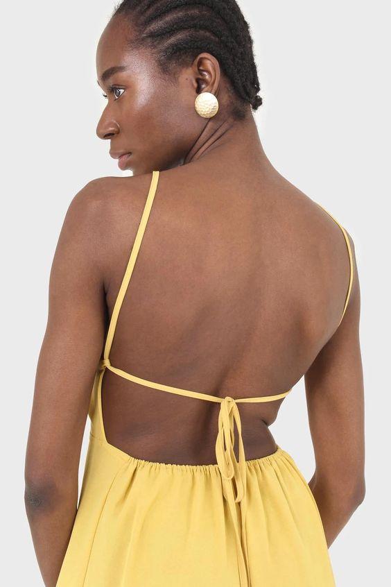 Mustard tie back dress glassworks