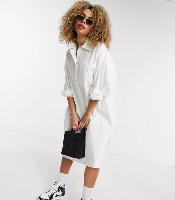 COLLUSION oversize midi shirt dress in white