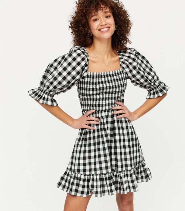 Black Gingham Square Neck Frill Mini Dress new look