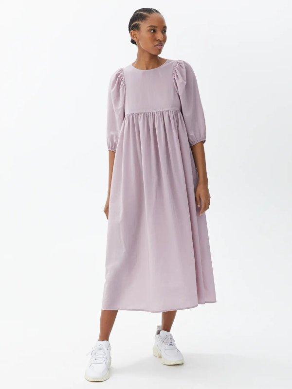 Puff Sleeve Cupro Blend Dress