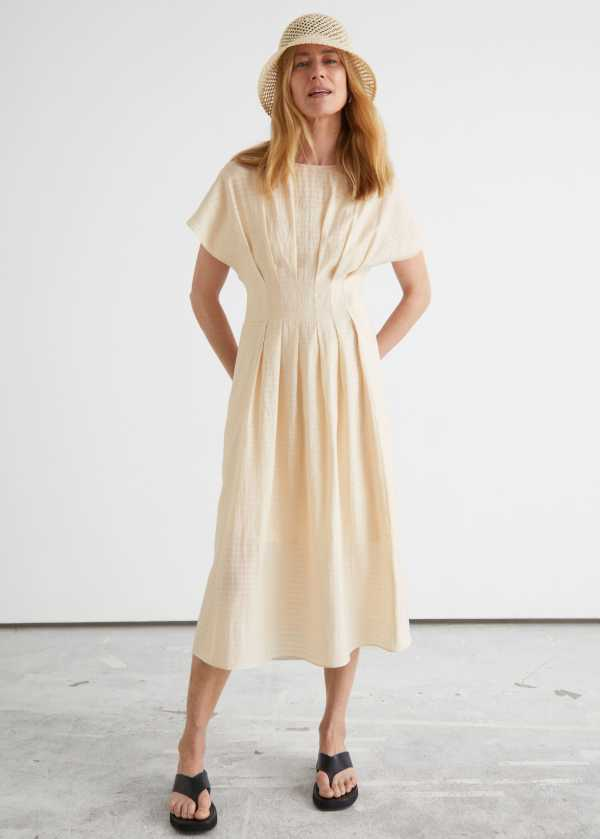 Pleated Wide Sleeve Midi Dress & other stories