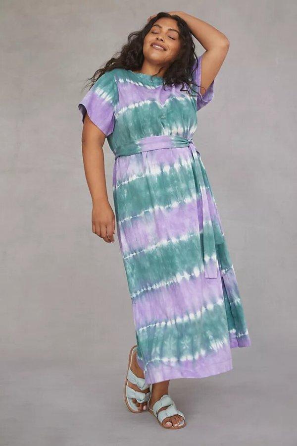WHIT TWO Striped Tie-Dye Maxi Dress anthropologie
