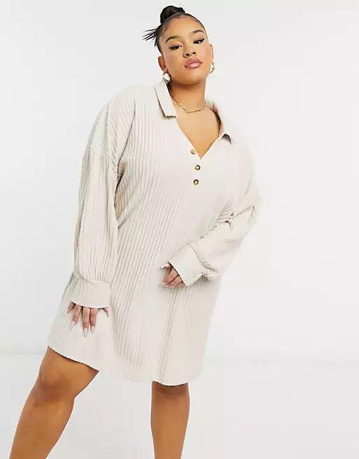 ASOS Curve Super Soft Rib Long Sleeve Shirt Dress