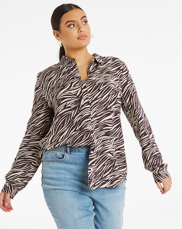 Zebra Print Dipped Back Viscose Shirt Simply Be