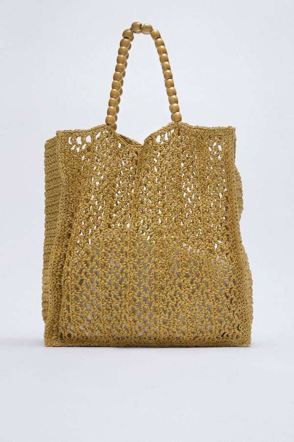 Woven Tote Bag With Wooden Bead Strap Zara