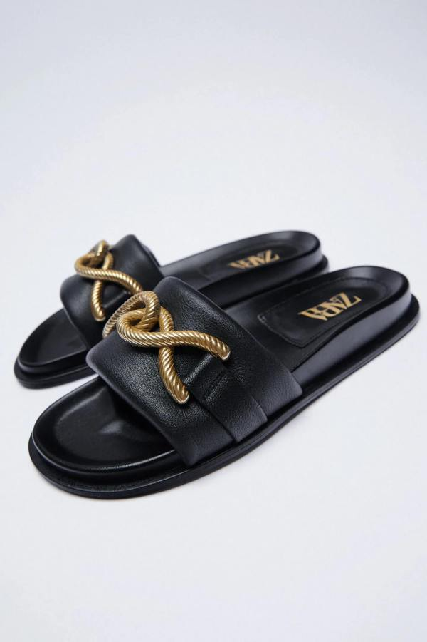Zara Leather Flat Sandals With Metal Buckle