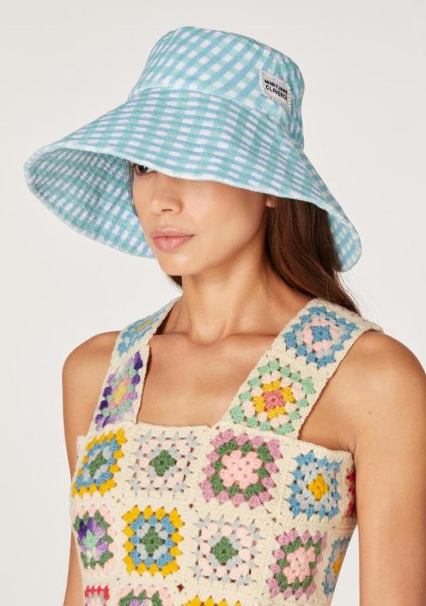 Koibird Bardot Terry Cloth Gingham Bucket Hat