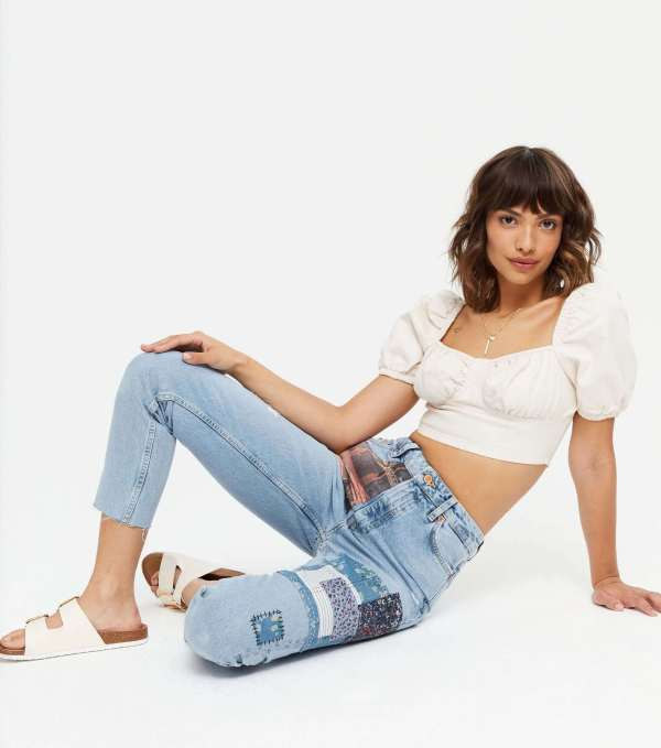 Blue Ripped Patchwork High Waist Tori Mom Jeans New Look