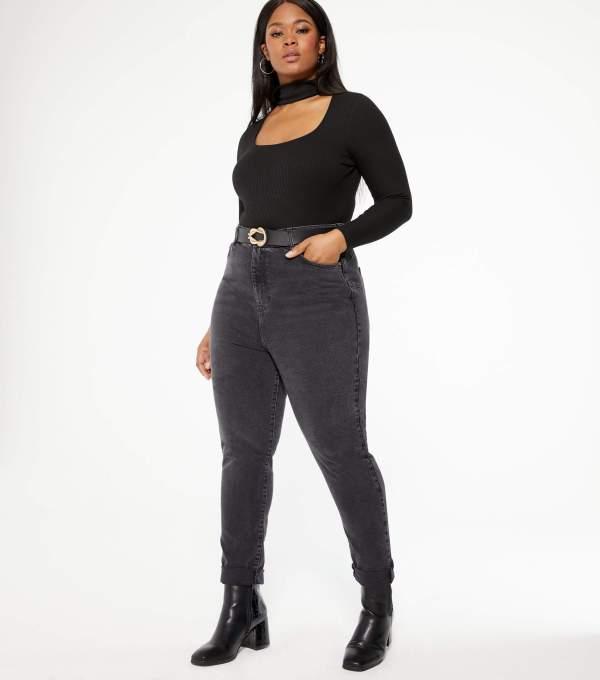Curves Black High Waist Tori Mom Jeans New Look