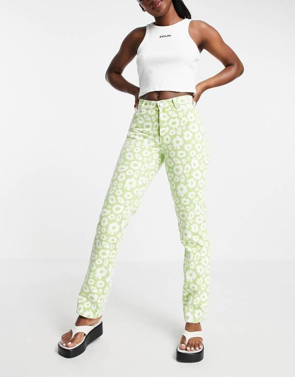ASOS DESIGN mid rise '90's' straight leg daisy print jean in green