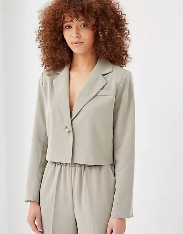 4th + Reckless Boxy Tailored Blazer in Sage Green