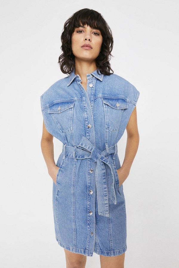 Warehouse Sleeveless Belted Denim Mini Dress