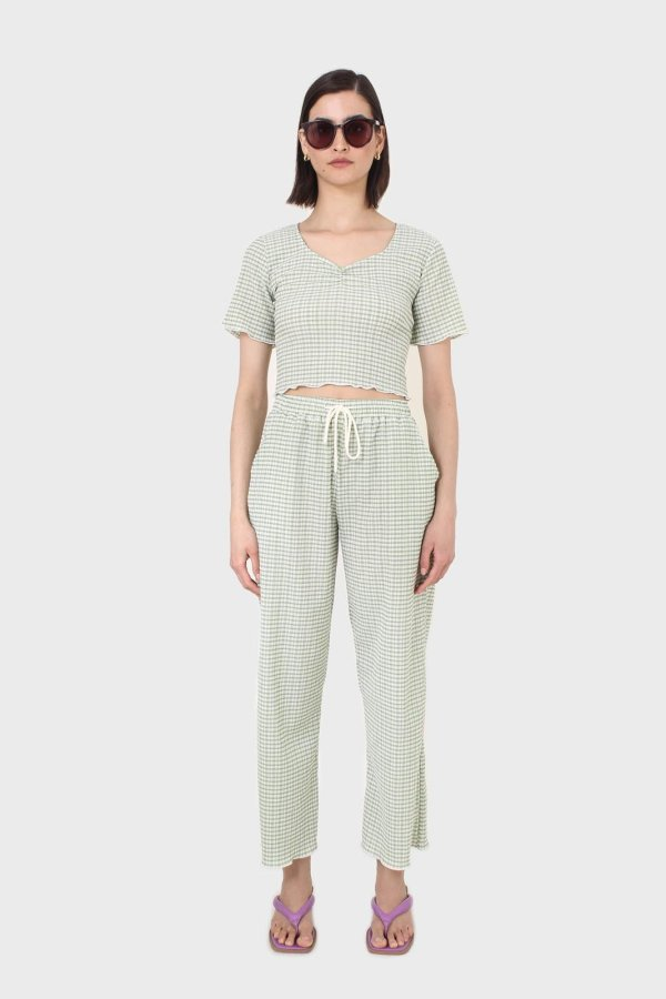 Glassworks London Green Gingham Loose Fit Drawstring Trousers