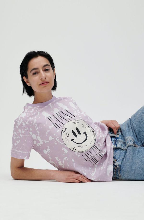 Ganni Basic Cotton Jersey T-shirt with Moon Print