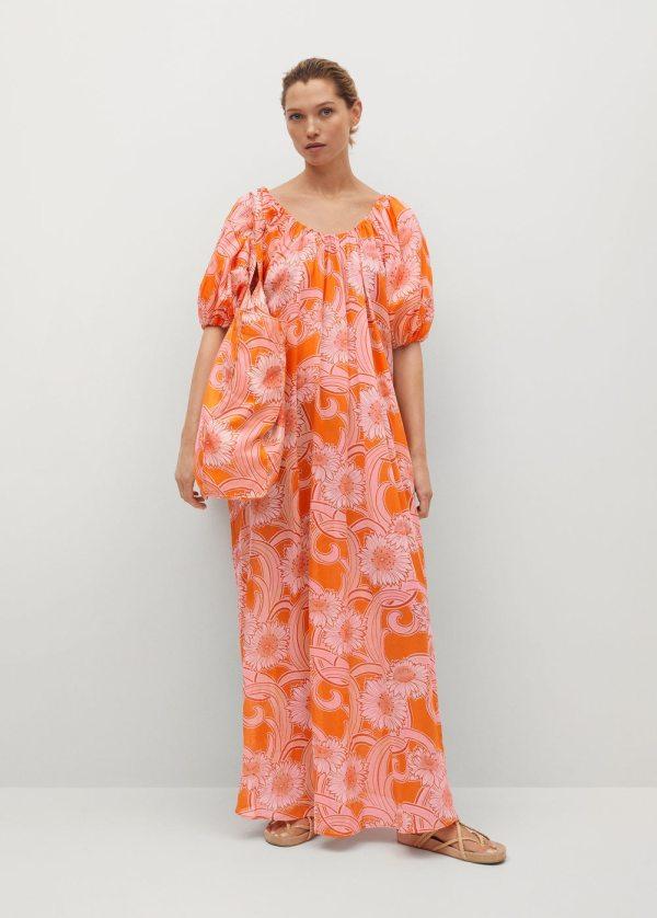 Mango Orange Printed Cotton Dress