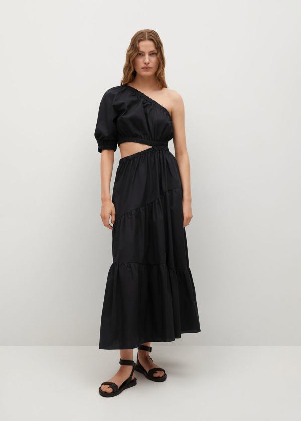 Mango Black Vent Cotton Dress
