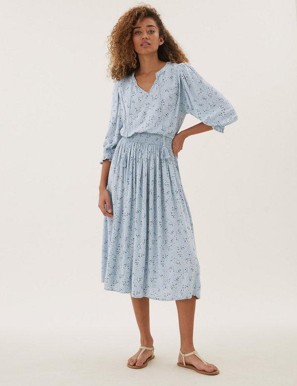 Marks & Spencer Floral Tie-Neck Midi Waisted Dress