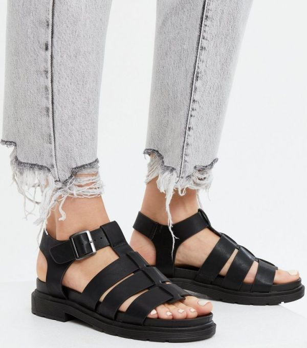 New Look Black Caged Chunky Sandals