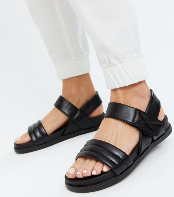 New Look Wide-Fit Black Quilted Chunky Sandals