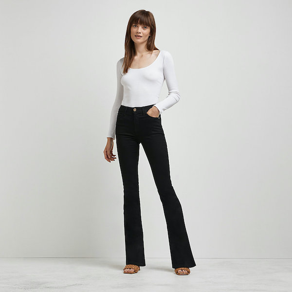 River Island Black Mid-Rise Flare Jeans