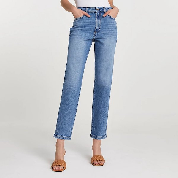 River Island Blue High-Waisted Straight Leg Jeans