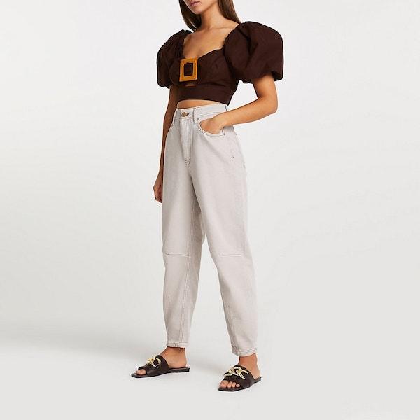 River Island Ecru High-Waisted Tapered Jeans