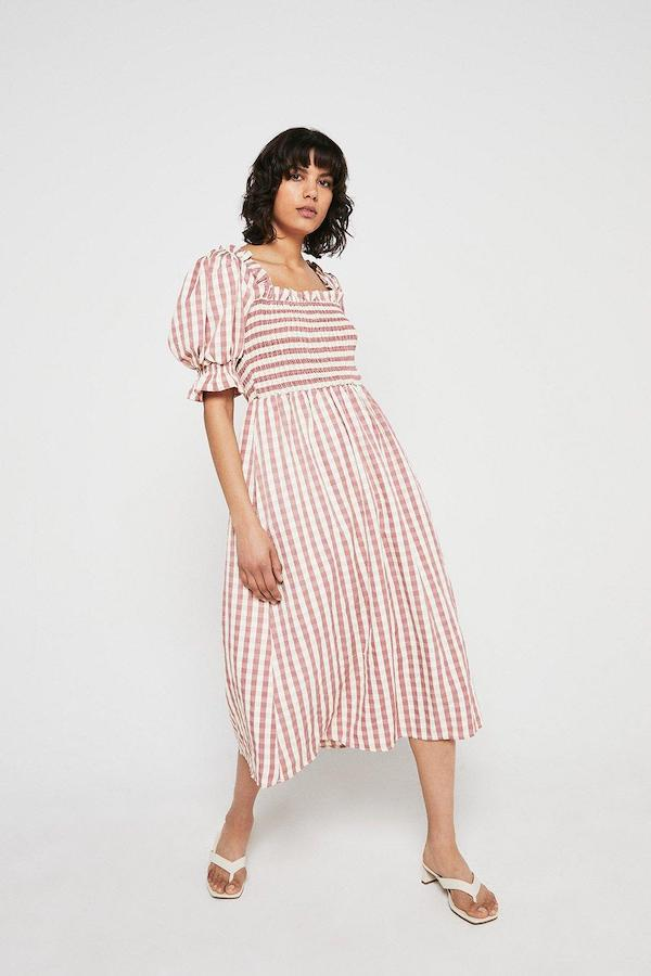 Warehouse Gingham Square Neck Puff Sleeve Midi Dress