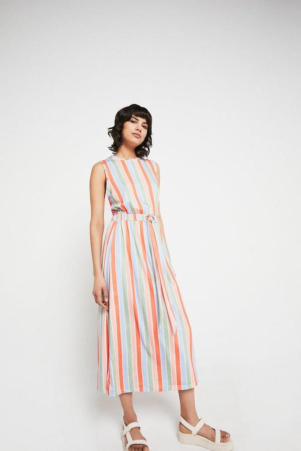Warehouse Printed Stripe Tie Waist Midi Dress