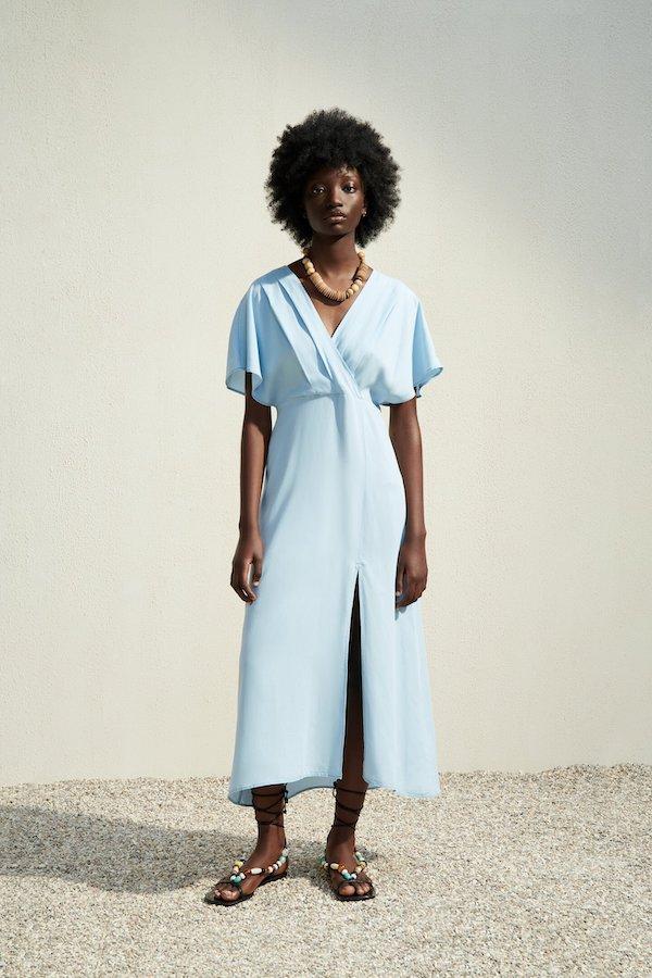 Zara Flowing Midi Dress in Light Blue