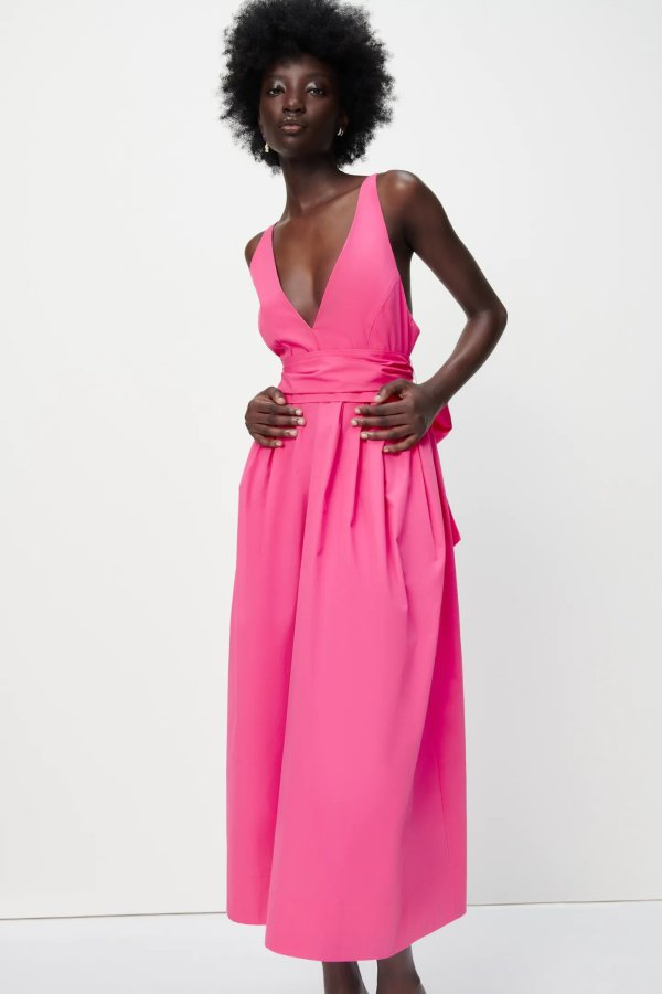 Zara Poplin Dress With Tie Detail in Hot Pink