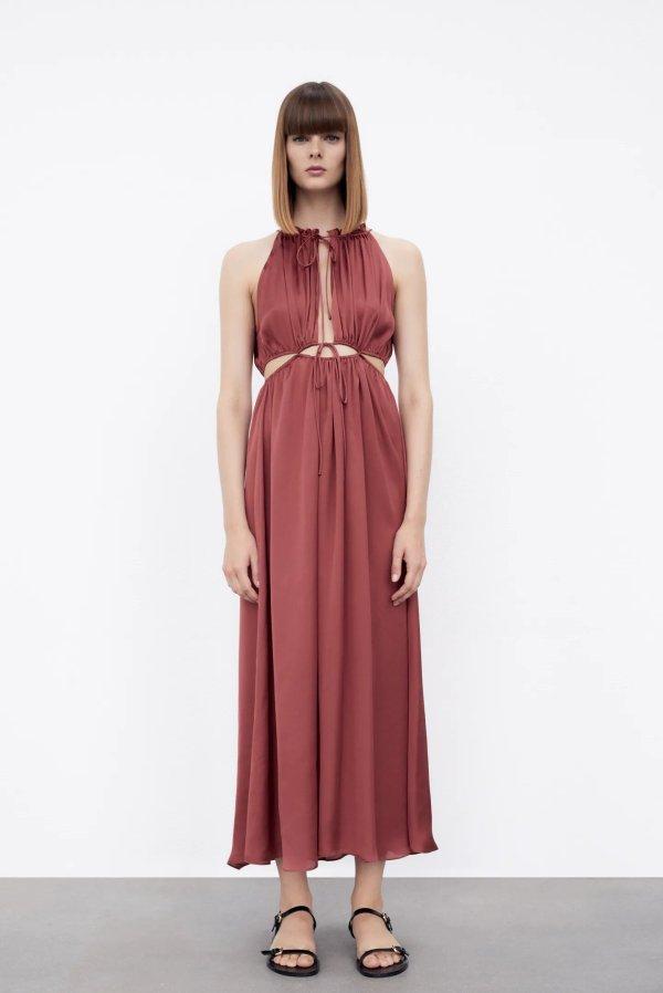 Zara Satin Dress With Cut-Out Detail