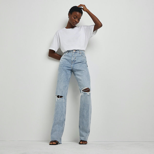 River Island Blue Straight Ripped Jeans