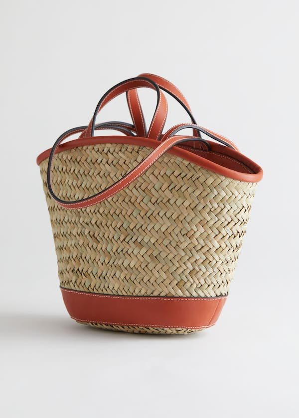 & Other Stories Woven Straw Leather Trim Tote Bag