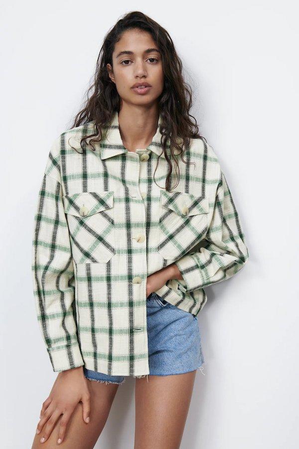 Zara Check Oversized Shirt