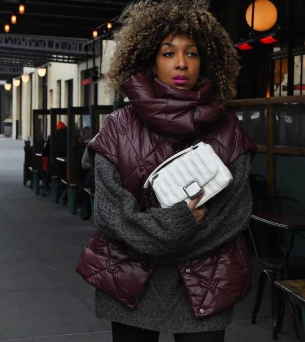 Karen Blanchard wearing puffer jacket