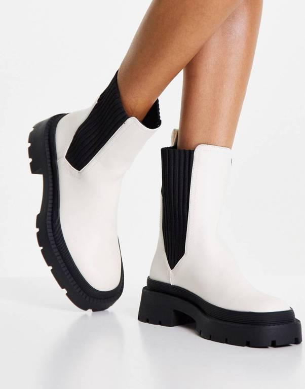 Pimkie elastic detail chelsea boot in white