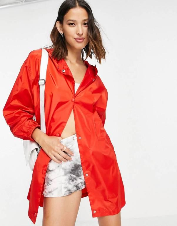 ASOS DESIGN button through rain jacket in red