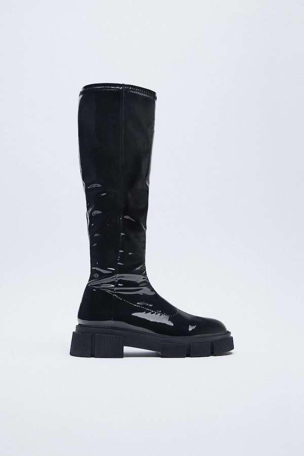 Zara Flat Faux Patent Stretch Knee-high Boots