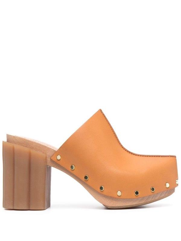 Stella McCartney Rivet Detail Block-Heel Mules